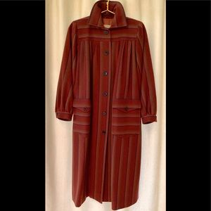 GIVENCHY Wool Rust, Navy Striped Long Coat Vintage